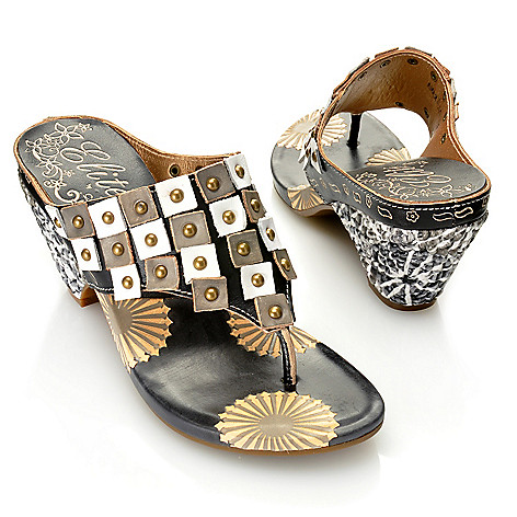 713-130 - Corkys Elite Hand-Painted Leather Slip-on Wedge Thong Sandals