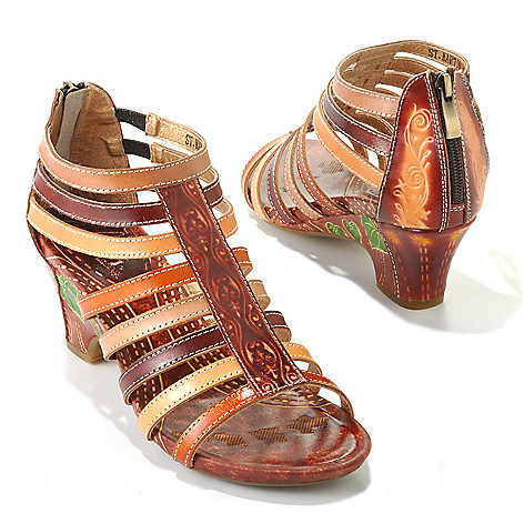 713-131 - Corkys Elite Hand-Painted Leather ''St. Martin'' Back Zip Sandals