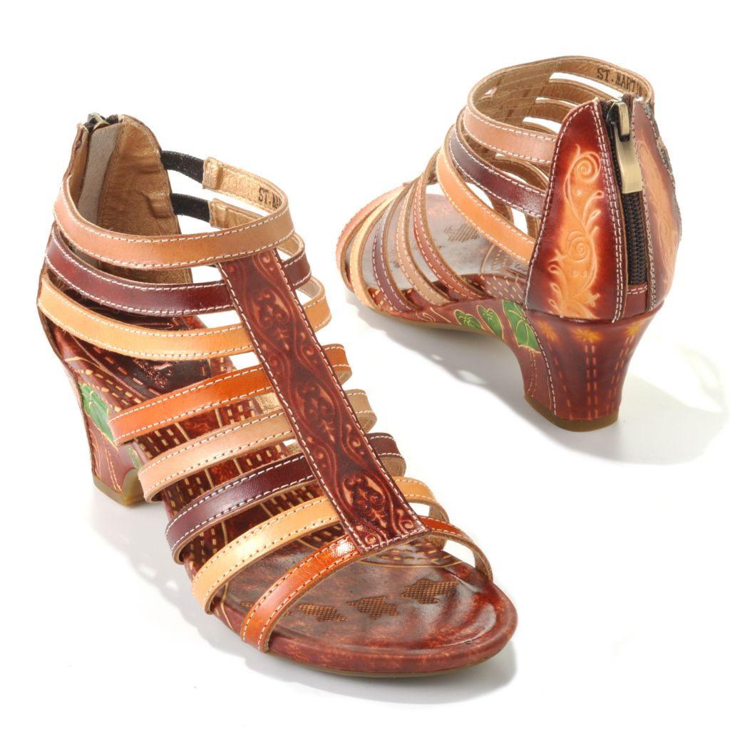 "713-131 - Corkys Elite Hand-Painted Leather ""St. Martin"" Back Zip Sandals"