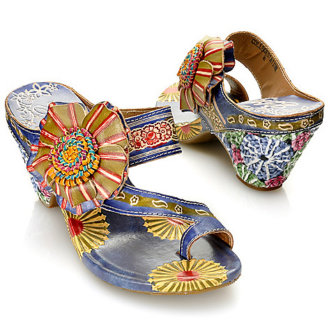713-132 - Corkys Elite Hand-Painted Leather Flower Detailed Toe Loop Sandals