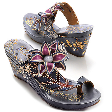 713-133 - Corkys Elite Hand-Painted Leather ''Grapevine'' Slip-on Flower Toe Ring Wedges