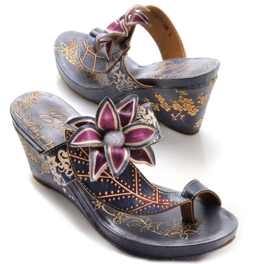 "713-133 - Corkys Elite Hand-Painted Leather ""Grapevine"" Slip-on Flower Toe Ring Wedges"