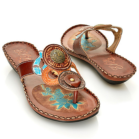 713-134 - Corkys Elite Hand-Painted Leather ''Antiqua'' Slip-on Thong Sandals