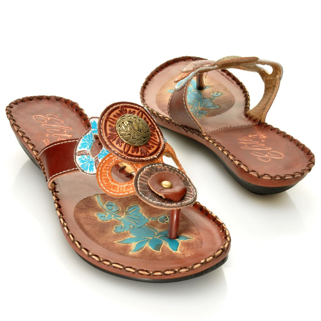 "713-134 - Corkys Elite Hand-Painted Leather ""Antiqua"" Slip-on Thong Sandals"