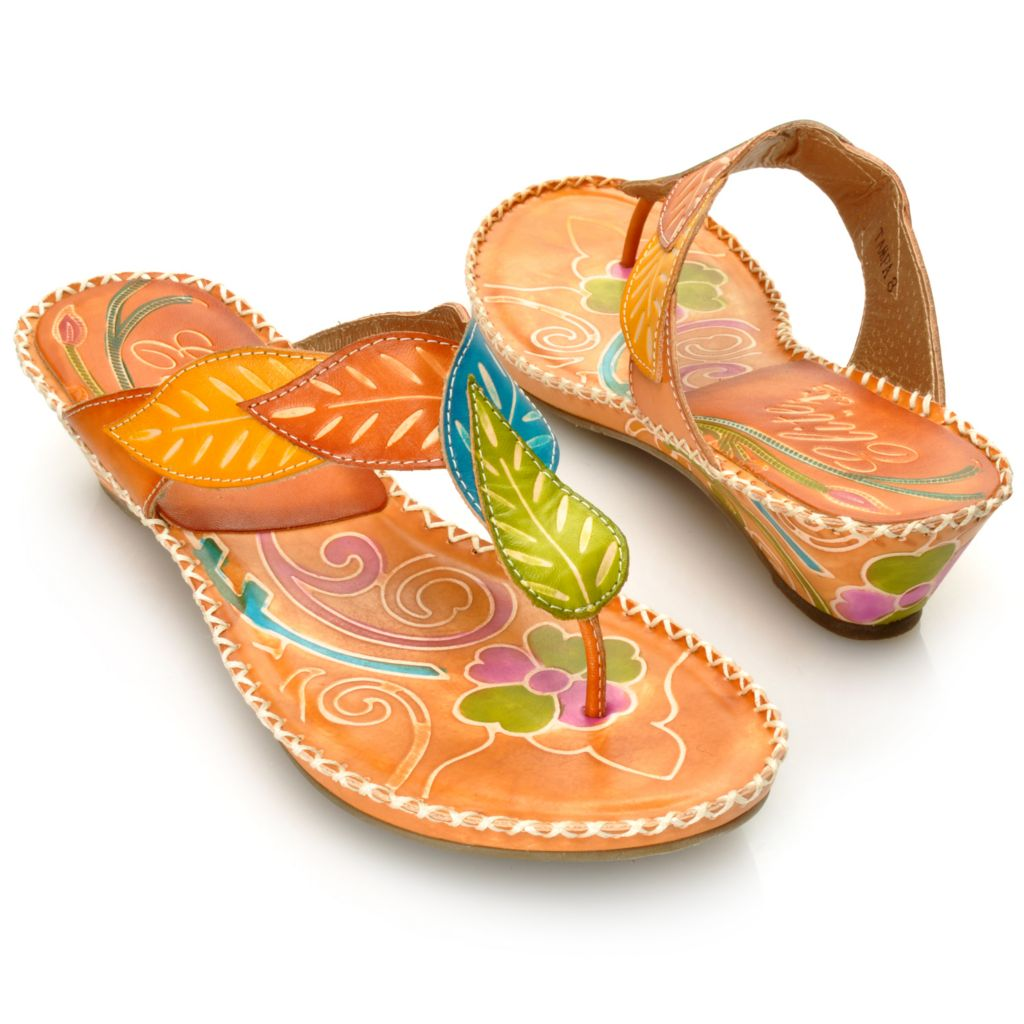 713-136 - Corkys Elite Hand-Painted Leather Leaf Pattern Thong Sandals