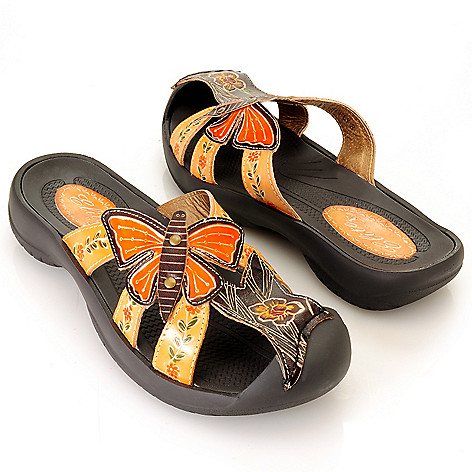 713-137 - Corkys Elite Hand-Painted Leather ''Firefly'' Slip-On Sandals