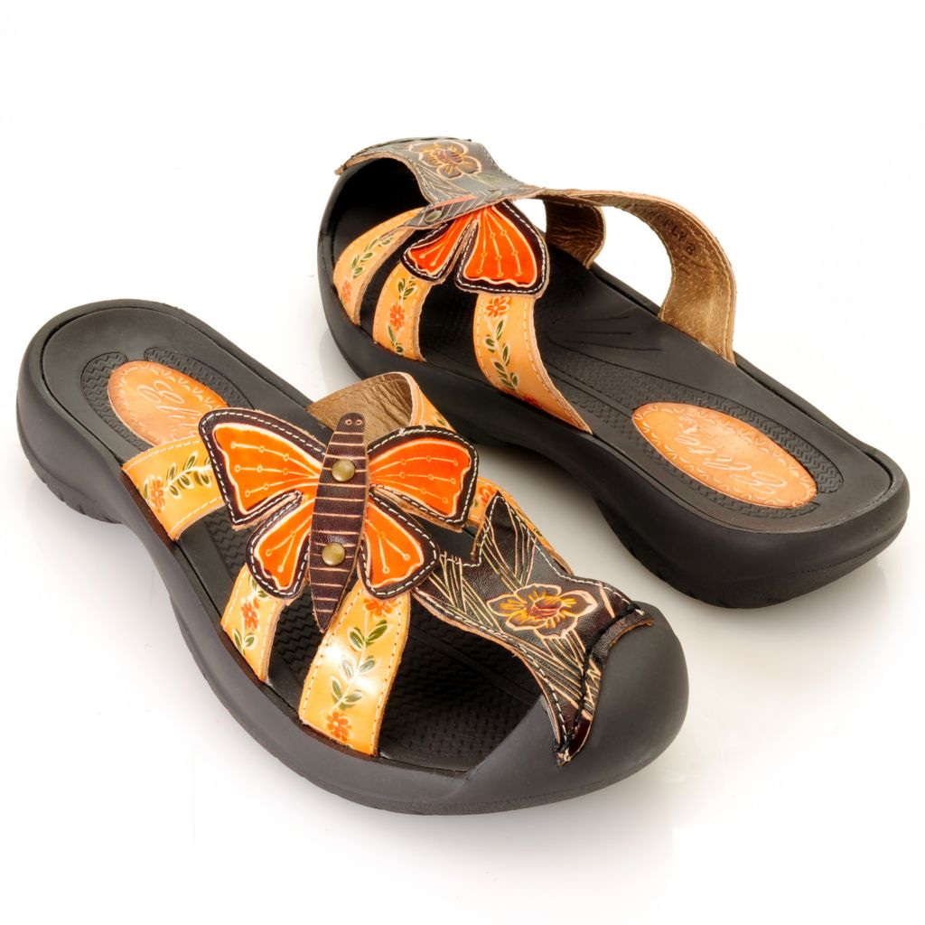 "713-137 - Corkys Elite Hand-Painted Leather ""Firefly"" Slip-On Sandals"