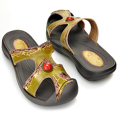 713-139 - Corkys Elite Hand-Painted Leather ''Moss'' Bumped Toe Slip-on Sandals
