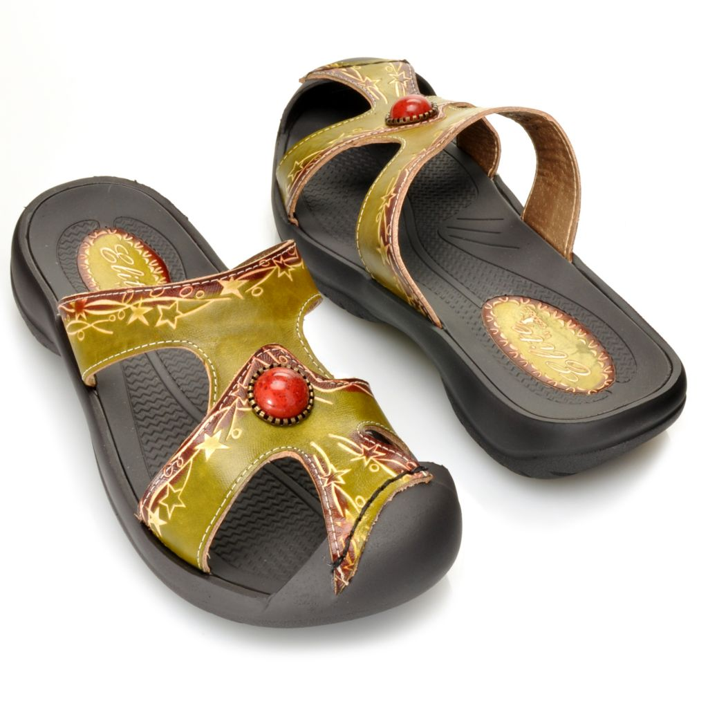 713-139 - Corkys Elite Hand-Painted Leather Bumped Toe Slip-on Sandals