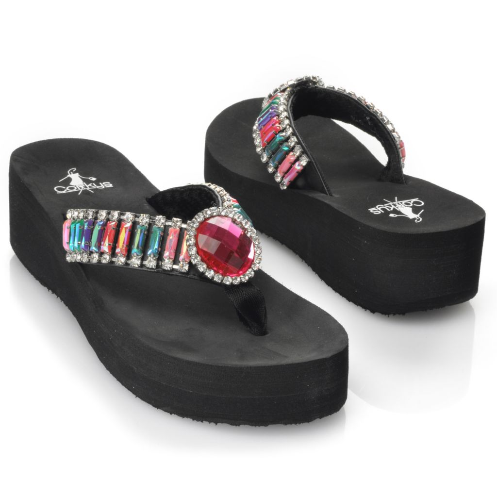 713-148 - Corkys Multi Color Rhinestone Thong Sandals