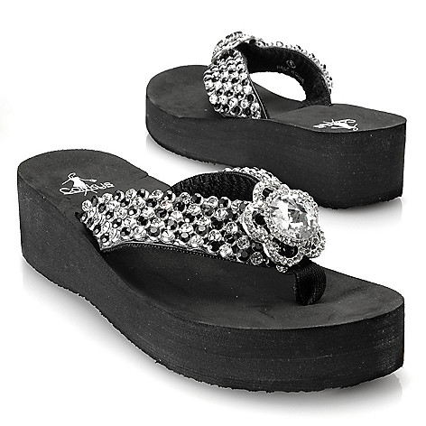 713-149 - Corkys Rhinestone Flower Thong Sandals