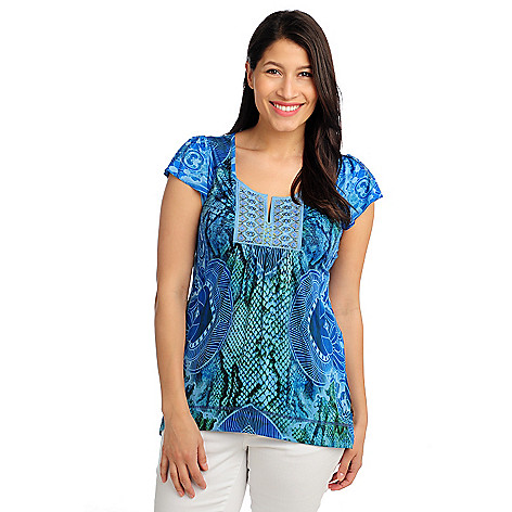 713-170 - One World Micro Jersey Flutter Sleeved Notch Neck Embellished Top