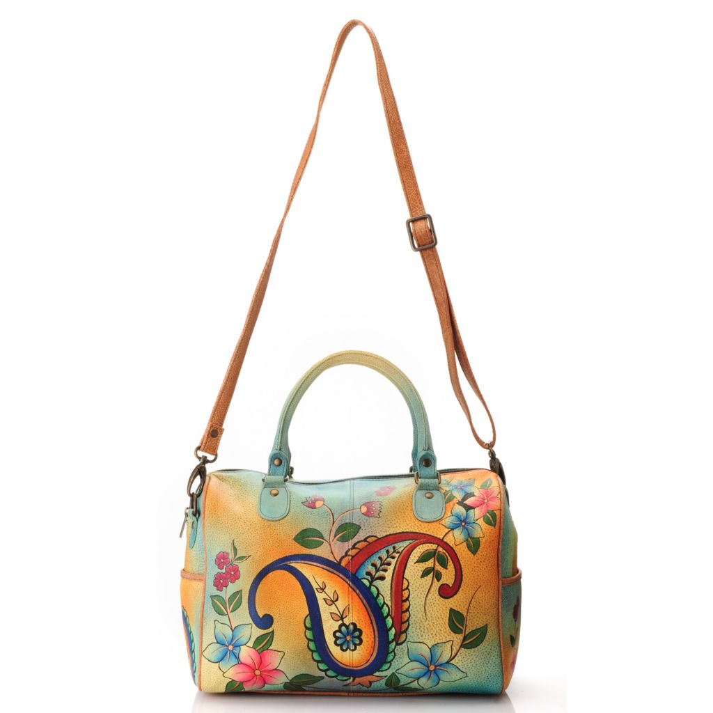 713-189 - Anuschka Hand-Painted Leather Double Handle Satchel w/ Shoulder Strap