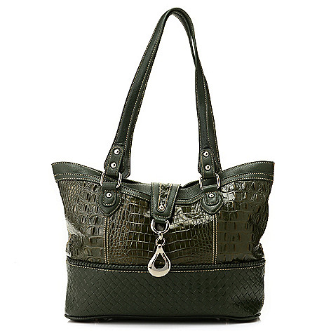 713-191 - Madi Claire ''Gloria'' Croco Embossed Leather Textured Trim Tote Bag