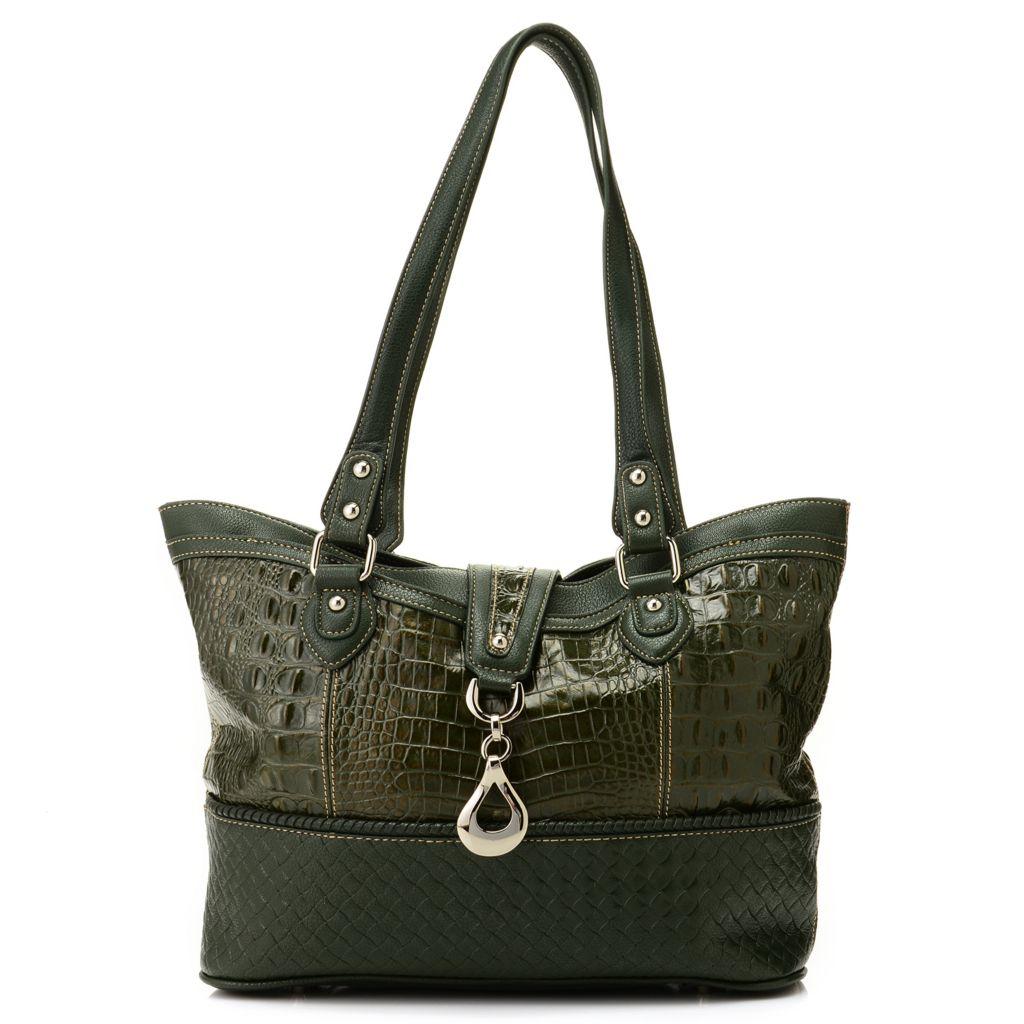 ... Madi Claire ''Gloria'' Croco Embossed Leather Textured Trim Tote Bag