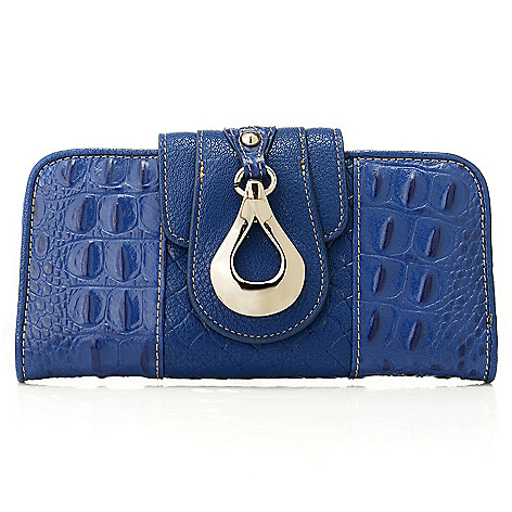 713-192 - Madi Claire Croco Embossed Leather Flap-over Wallet