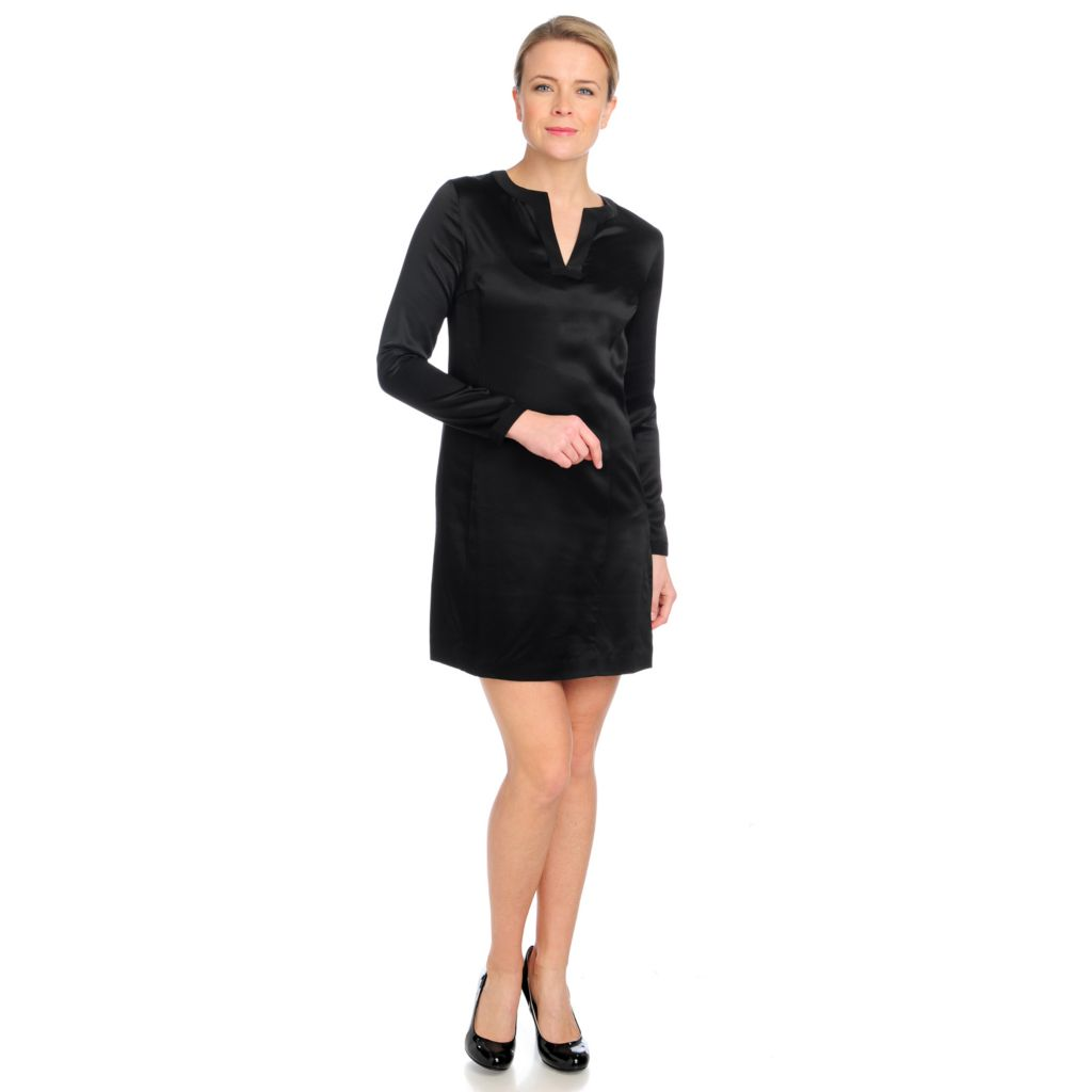 713-194 - Brooks Brothers® 100% Silk Long Sleeved Side Zip Shift Dress