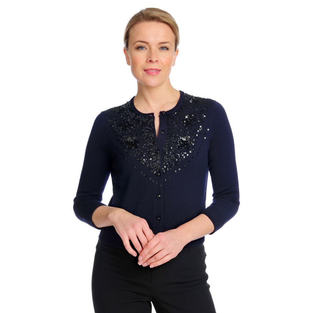 713-200 - Brooks Brothers® 100% Merino Wool Sequined Cardigan Made w/ Swarovski® Elements