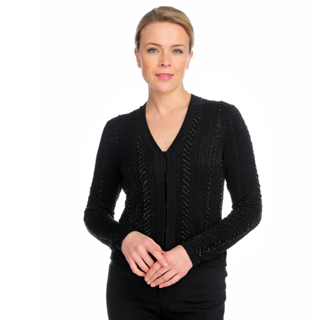 713-201 - Brooks Brothers® 100% Merino Wool Long Sleeved Hand-Beaded Cardigan Sweater