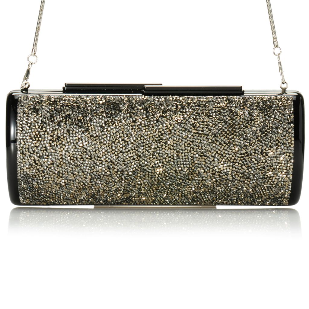 713-202 - Brooks Brothers® Austrian Crystal Embellished Evening Clutch w/ Shoulder Strap