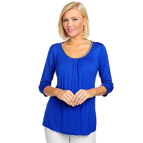 713-228 - OSO Casuals Stretch Knit 3/4 Sleeved Chain Neckline Top