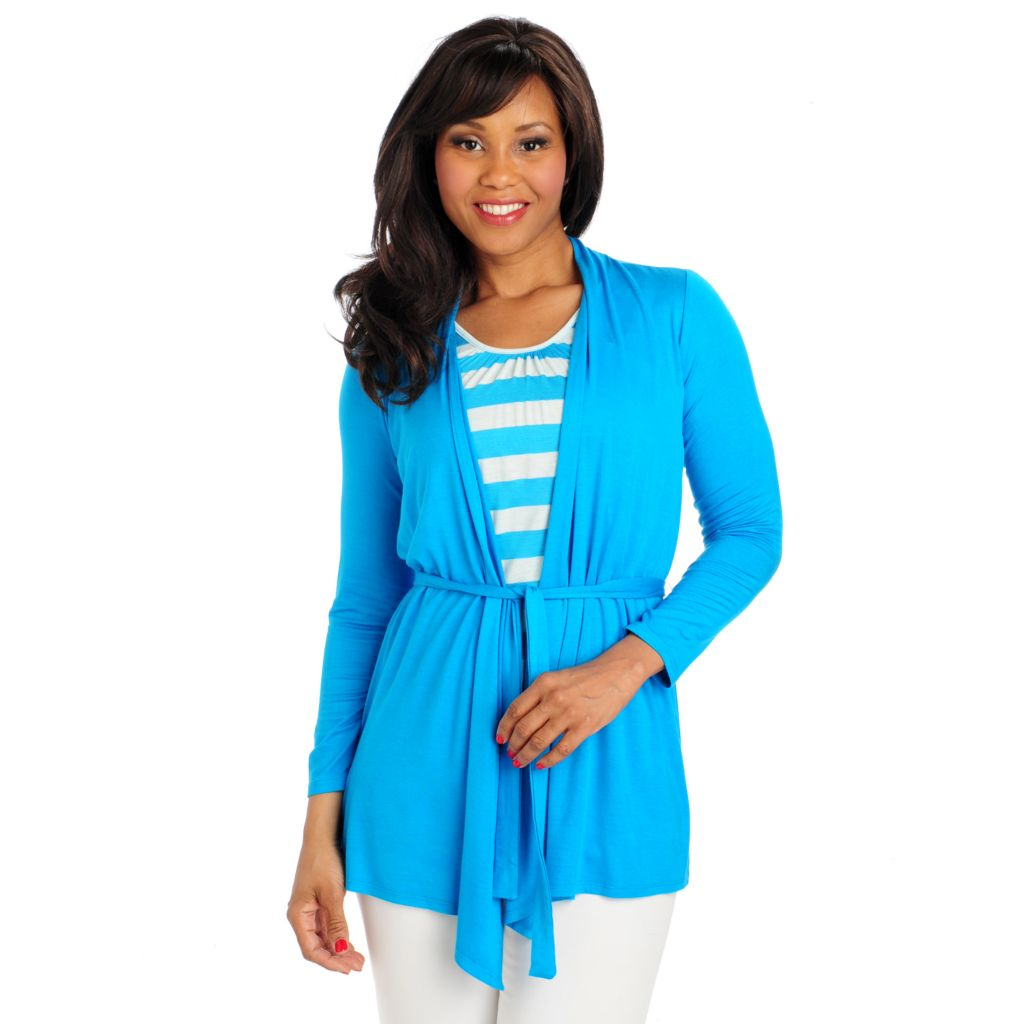 713-232 - OSO Casuals Stretch Knit Long Sleeved Striped Tank Inset Tie-Front Cardigan Sweater
