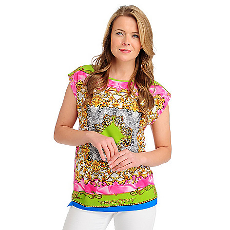 713-236 - Kate & Mallory Stretch Knit Cap Sleeved Scoop Neck Status Printed Top