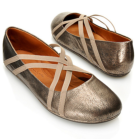 713-246 - Gentle Souls by Kenneth Cole Leather ''Bay Braid'' Ballerina Flats