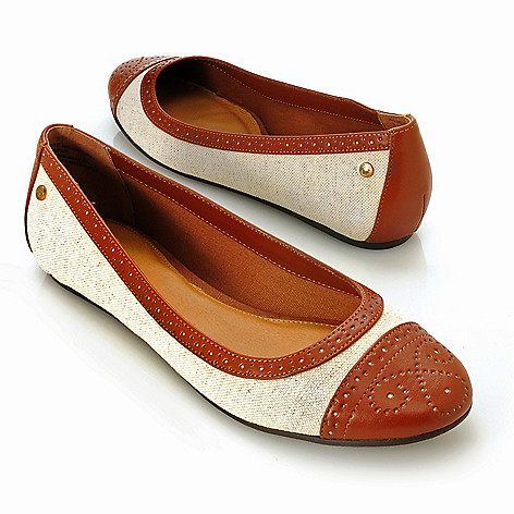 713-252 - Bass Footwear Canvas ''Bedford'' Hidden Wedge Perforated Flats
