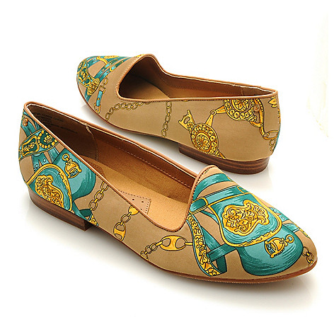 713-254 - Bass Footwear Satin ''Geneva'' Scarf Print Smoking Loafers