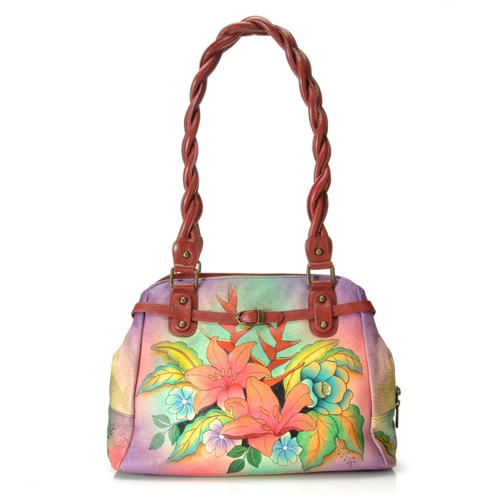 713-257 - Anuschka Hand-Painted Leather Twisted Double Handle Satchel