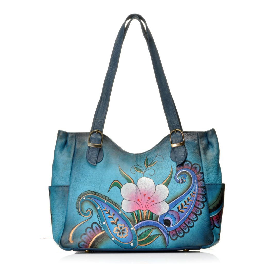 713-258 - Anuschka Hand-Painted Leather Double Handle Medium Shoulder Bag