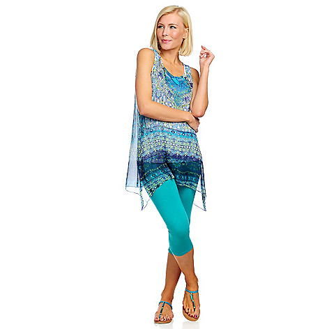 713-259 - One World Printed Chiffon Sharkbite Tunic & Cropped Knit Leggings Set