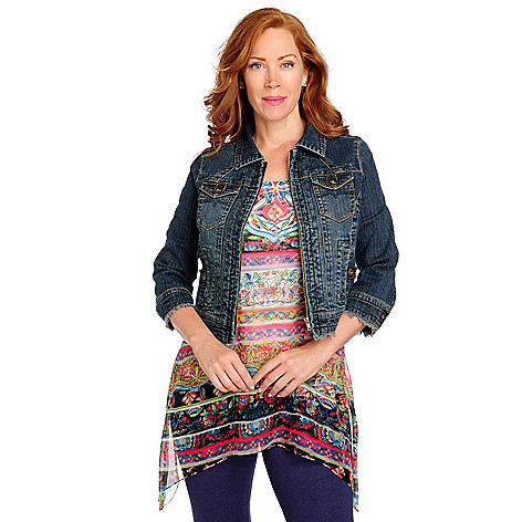 713-260 - One World Stretch Twill 3/4 Sleeved Fringed Hem Zip Denim Jacket