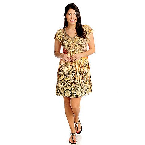 713-274 - One World Micro Jersey Flutter Sleeved Embellished Flip Flop Dress