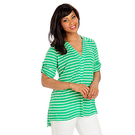 713-283 - OSO Casuals Striped Knit Long Sleeved Half Placket Tunic Shirt