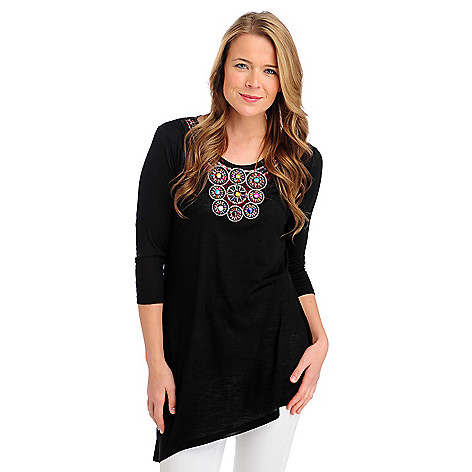713-284 - Kate & Mallory Slub Knit 3/4 Sleeved Asymmetrical Hem Embellished Top