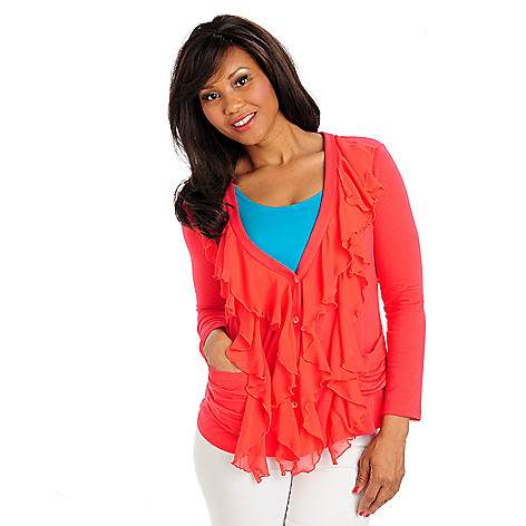 713-285 - Kate & Mallory Stretch Knit Chiffon Ruffle Long Sleeved Cardigan Sweater
