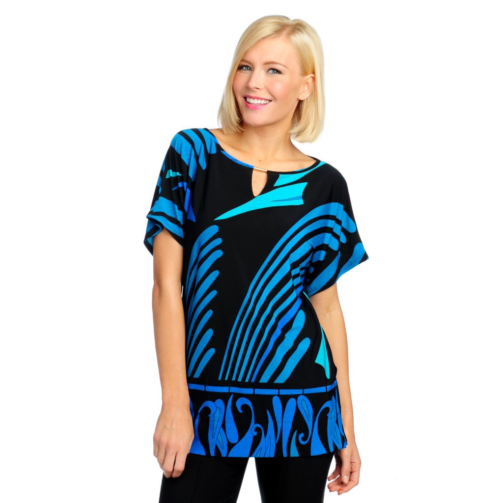 713-286 - aDRESSing WOMAN Stretch Knit Dolman Sleeved Keyhole Detail Tunic