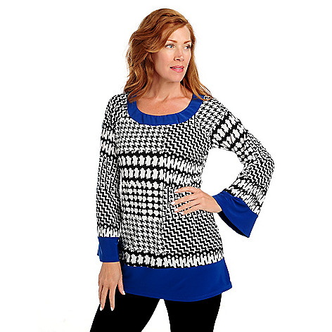 713-288 - aDRESSing WOMAN Stretch Knit Bell Sleeved Contrast Trimmed Shift Tunic
