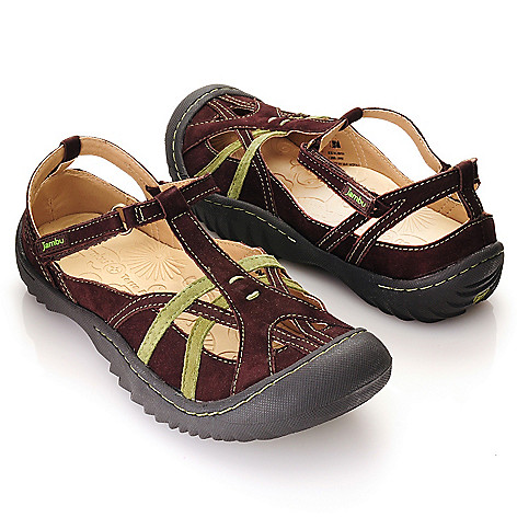 713-293 - Jambu Leather ''Dune'' T-Strap Style Closed Toe Comfort Sandals