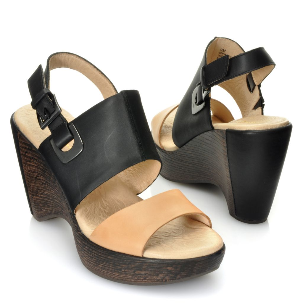 "713-294 - Jambu Leather ""Gem"" Quarter Strap Wedge Sandals"