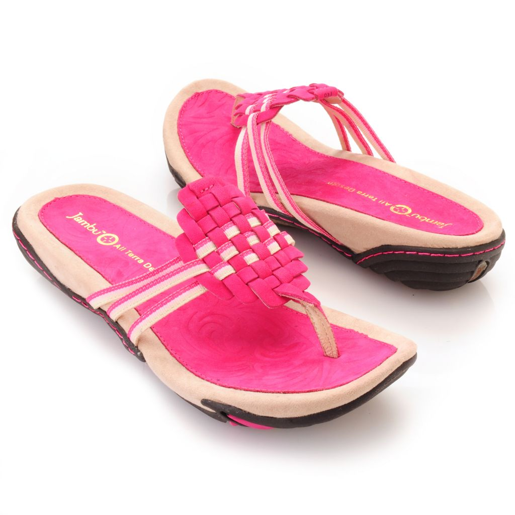 "713-295 - Jambu Leather ""Leaf"" Woven Thong Sandals"