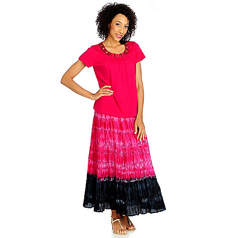 713-298 - OSO Casuals Cotton Knit Short Sleeved Beaded Top & Tie-dyed Skirt Set