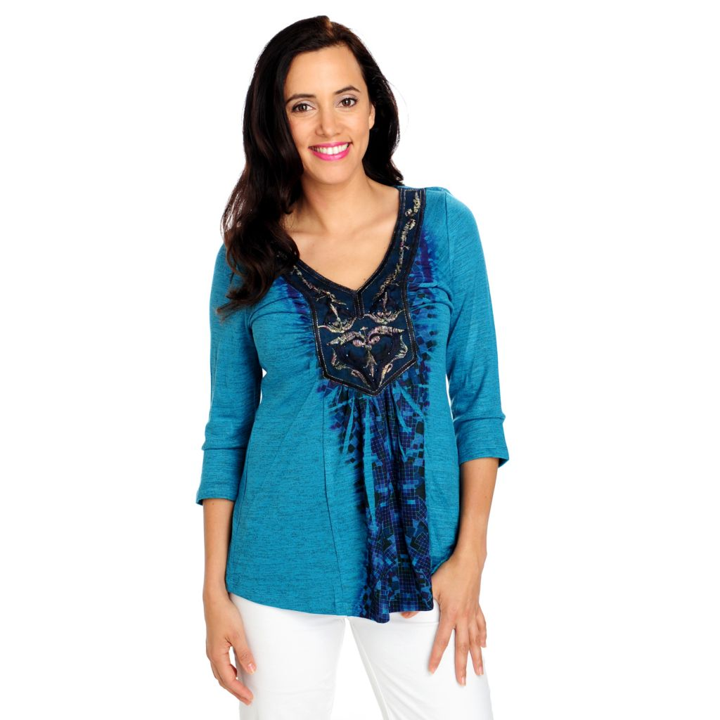 713-314 - One World Sweater Knit 3/4 Sleeved Sequin Applique Top