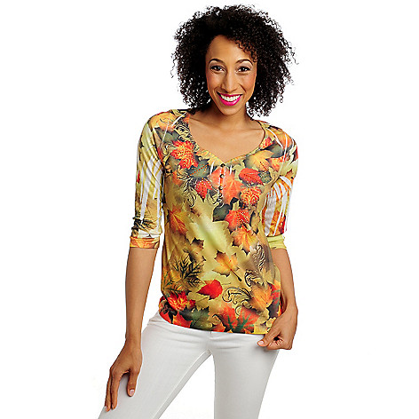713-315 - One World Henley 3/4 Sleeved Y-Neck Embellished Top