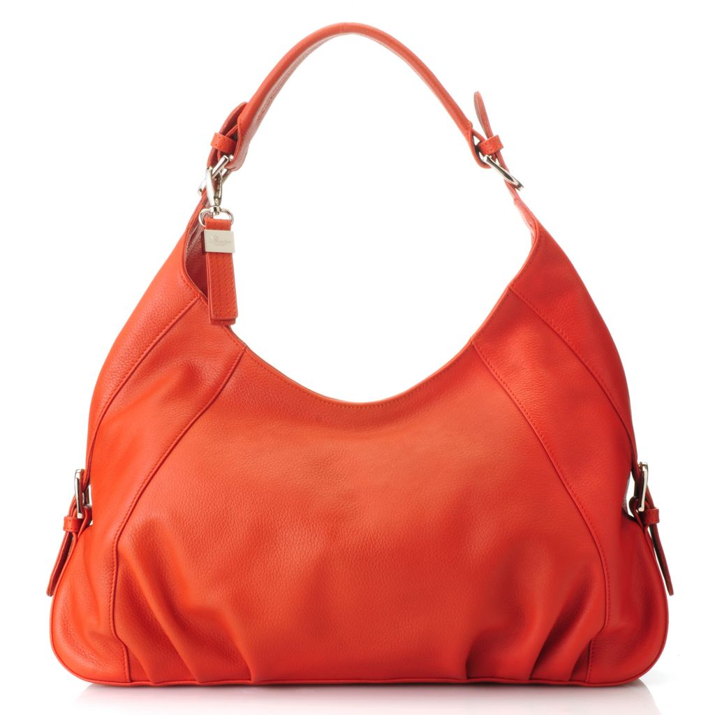 713-318 - Buxton® Leather Buckle Detailed Pleated Hobo Handbag