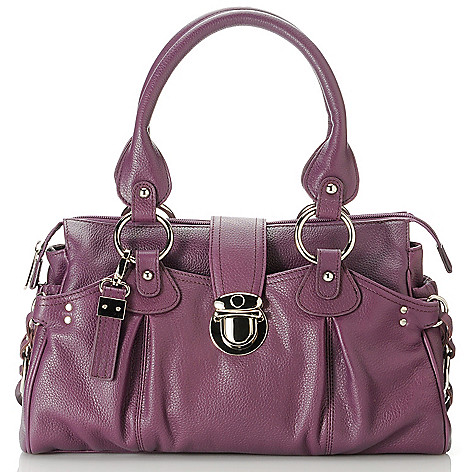 713-324 - Buxton® Leather Double Handle Push-Lock Satchel