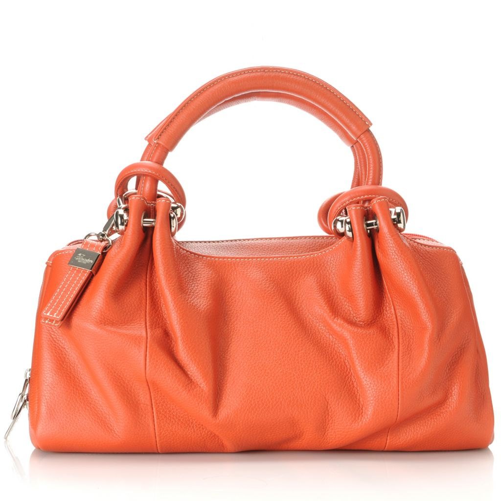 713-326 - Buxton® Leather Double Handle Pleated Satchel
