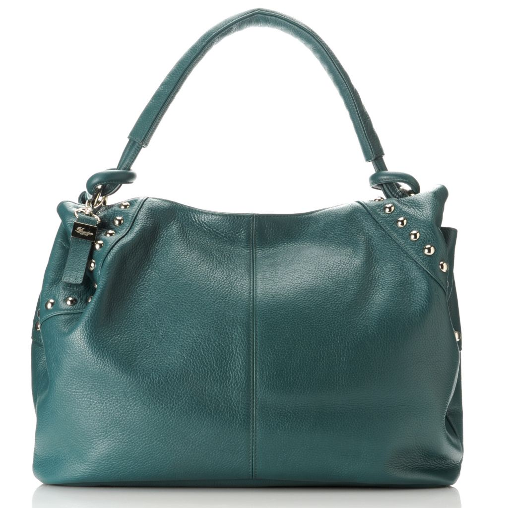 713-333 - Buxton® Leather Gathered Round Studded Shoulder Bag